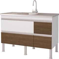 Balcão para Cozinha Prisma 12 80x120cm Branco E Castanho - MGM Móveis