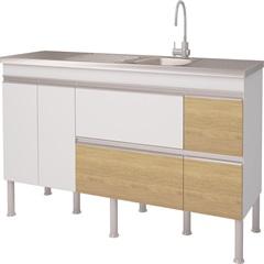 Balcão para Cozinha Prisma 18 86x180cm Branco E Nogueira - MGM Móveis