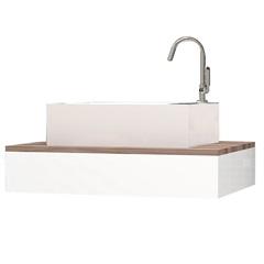 Bancada para Banheiro em Mdp sem Cuba 60x41,4cm Branca E Tamarindo - Cozimax