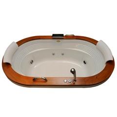 Banheira Oval com Aquecedor E Cascata 8 Jatos Europe Wood P2 183,5x112cm Branca - Jacuzzi