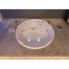Banheira Redonda com Aquecedor 12 Jatos Cortina 183x183cm Branca - Jacuzzi