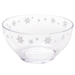 Bowl em Acrílico Flocos de Neve 16cm Transparente - Casanova