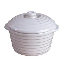 Caçarola de Cerâmica Cocotte 5,5x10cm Branca - Casa Etna