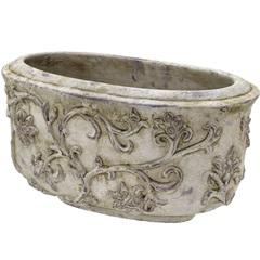 Cachepot em Cerâmica Oval 30,5x17cm Cinza - Importado