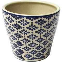 Cachepot em Cerâmica Oval do0011 Azul E Bege - BTC