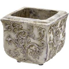 Cachepot em Cerâmica Quadrado 13,5x15cm Cinza - Importado