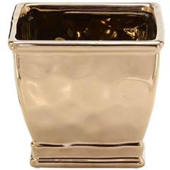 Cachepot em Cerâmica Quadrado 13x15cm Dourado - Importado