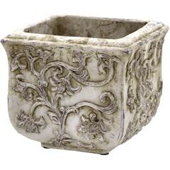 Cachepot em Cerâmica Quadrado 17x19cm Cinza - Importado