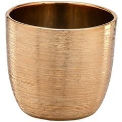 Cachepot em Cerâmica Redondo 12,5x14cm Dourado - Importado