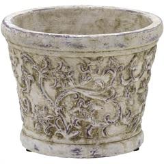 Cachepot em Cerâmica Redondo 14x17,5cm Cinza - Importado