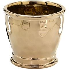 Cachepot em Cerâmica Redondo 15,5x17cm Dourado - Importado