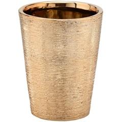 Cachepot em Cerâmica Redondo 16,5x13,5cm Dourado - Importado