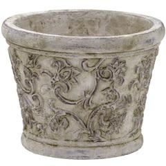 Cachepot em Cerâmica Redondo 17,5x22cm Cinza - Importado