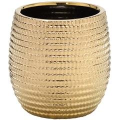 Cachepot em Cerâmica Redondo 20,5x19cm Dourado - Importado