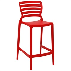Cadeira Alta em Polipropileno Sofia 93,5x48x47cm Vermelha - Tramontina