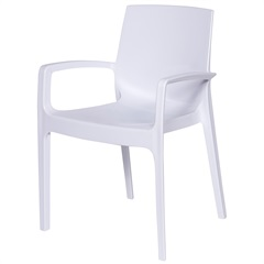 Cadeira com Braços em Polipropileno Alto Branca - Ór Design