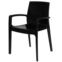 Cadeira com Braços em Polipropileno Alto Preta - Ór Design