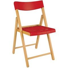 Cadeira Dobrável sem Braço em Madeira Tauarí 78,1x42,1x53,7cm Vermelha - Tramontina