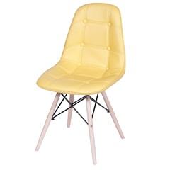 Cadeira Eames Botonê com Base em Madeira 43x44cm Amarela - Ór Design