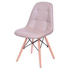 Cadeira Eames Botonê com Base em Madeira 43x44cm Cinza - Ór Design