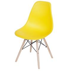 Cadeira Eames com Base em Madeira 46x46,5cm Amarela - Ór Design