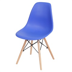 Cadeira Eames com Base em Madeira 46x46,5cm Azul Escura - Ór Design