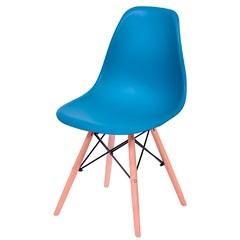 Cadeira Eames com Base em Madeira 46x46,5cm Azul Petróleo - Ór Design