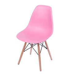 Cadeira Eames com Base em Madeira 46x46,5cm Rosa - Ór Design