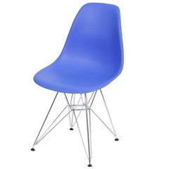Cadeira Eames com Base em Metal 46x46,5cm Azul Escura - Ór Design