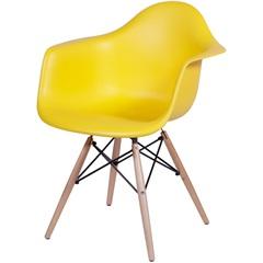 Cadeira Eames com Braços E Base de Madeira Amarela - Ór Design