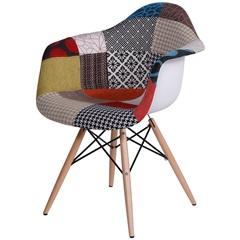 Cadeira Eames com Braços E Base de Madeira Patchwork - Ór Design