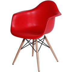 Cadeira Eames com Braços E Base de Madeira Vermelha - Ór Design