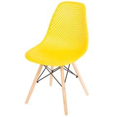 Cadeira Eames com Furos E Base de Madeira Amarela - Ór Design