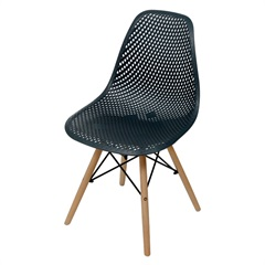 Cadeira Eames com Furos E Base de Madeira Preta - Ór Design