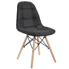 Cadeira Eames em Linho com Base de Madeira Preta - Ór Design