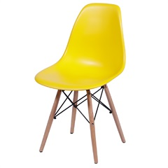 Cadeira Eames Infantil com Base em Madeira 33x31cm Amarela - Ór Design