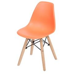 Cadeira Eames Infantil com Base em Madeira 33x31cm Laranja - Ór Design