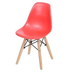 Cadeira Eames Infantil com Base em Madeira 33x31cm Vermelha - Ór Design