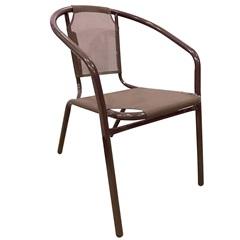 Cadeira em Aço com Tecido 73cm Marrom - Importado