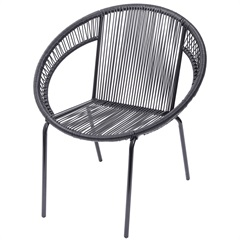 Cadeira em Aço E Pvc Cancun Preta