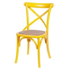Cadeira em Madeira Cross 48x55cm Amarela - Ór Design
