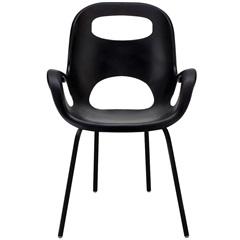 Cadeira em Polipropileno com Braço Oh Chair Preta - Casa Etna