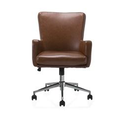 Cadeira em Poliuretano com Braço Rebecca Rustic Cognac - Casa Etna