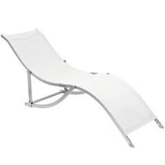 """Cadeira Espreguiçadeira """"S"""" Dobrável Branca - Bel Fix"""