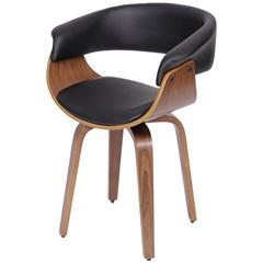 Cadeira Estofada em Madeira Charles Preta - Ór Design