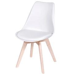 Cadeira Joly com Base em Madeira 47,5x49cm Branca - Ór Design