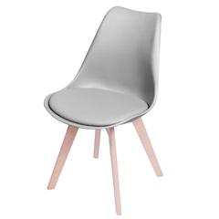 Cadeira Joly com Base em Madeira 47,5x49cm Cinza - Ór Design