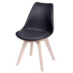 Cadeira Joly com Base em Madeira 47,5x49cm Preta - Ór Design