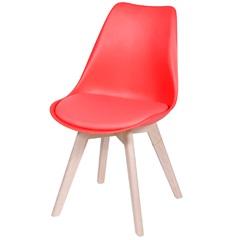 Cadeira Joly com Base em Madeira 47,5x49cm Vermelha - Ór Design