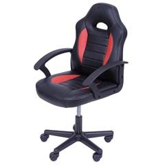 Cadeira para Escritório com Base Giratória Gamer Infantil 85x32cm Preta E Vermelha - Ór Design